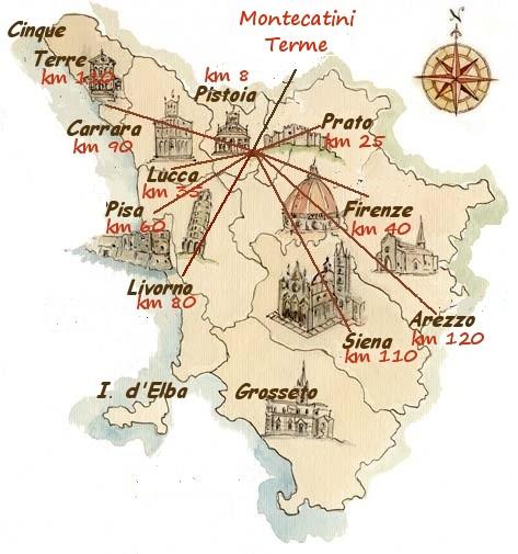 Mappa toscana con indicazione città e km da Montecatini